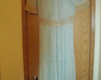 Gorgeous 1920's Blue Lace Gown