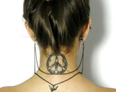 Earlace - Back Jewelry - Sparrow Earrings - Sparrow Charm Double Strand Behind The Neck Chain Earlace Necklace