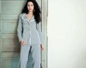 Vintage 70s  Pant Suit / Womens Two Piece Suit Set / Pin Stripe Suit / M / L / Medium / Large