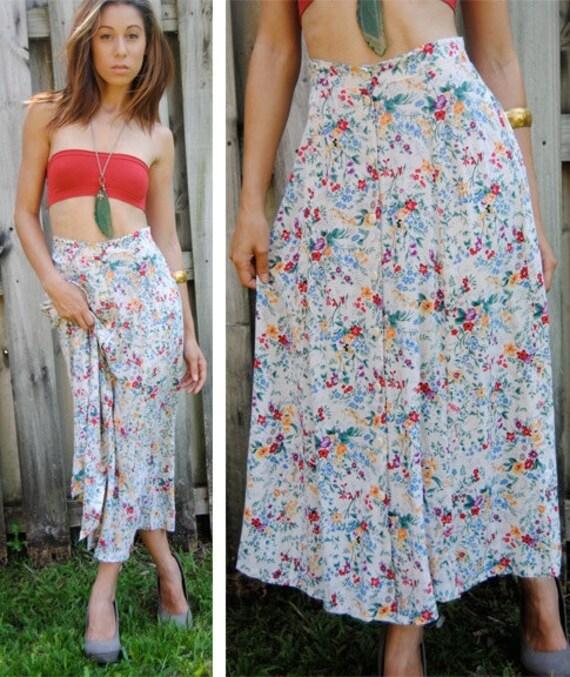 80s High Waist Skirt / Floral Maxi Hippie Skirt / Full Long Maxi Skirt / Summer Skirt S / M / Small / Medium
