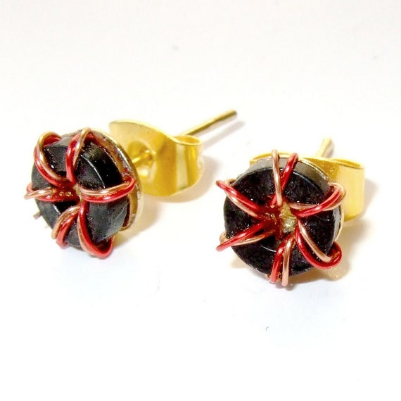 CLEARANCE  Cyberpunk Electronics Stud Earrings - Black Wire Wrapped Toroid Posts