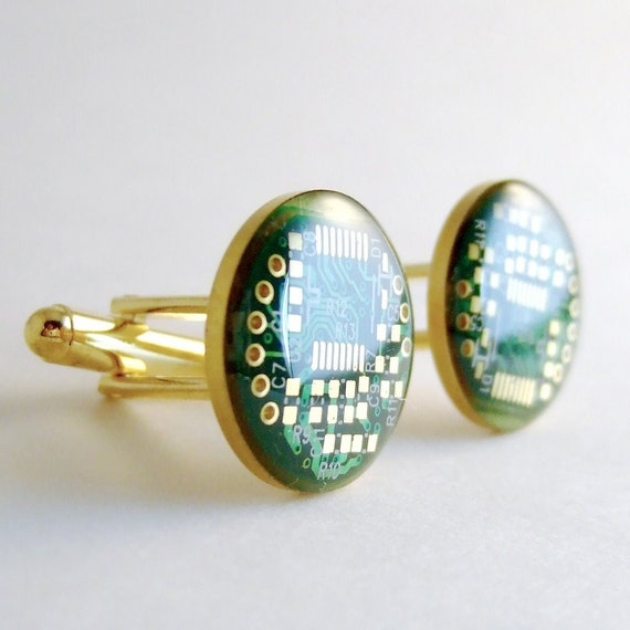 CLEARANCE  Circuit Board Cufflinks -- Gold and Green, Round Domed