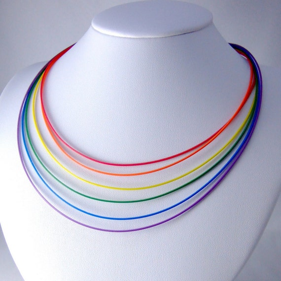 Computer Cable Necklace -- Rainbow Layered Wires