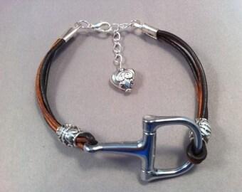 Two-Toned Leather Snaffle Bit Bracelet
