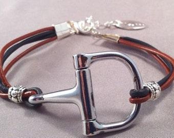 Saddle Brown and Black Leather Bit Bracelet