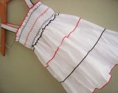 White layer baby girls dress with Red and Black  12 months