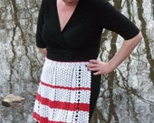 Vintage Hand Crocheted Red and White Apron, Homemade,  Mint Condition