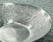 Vintage Hand Wrought, Hammered Aluminum Bowl, Embossed wtih Roses and Leaves, Signed and Polished