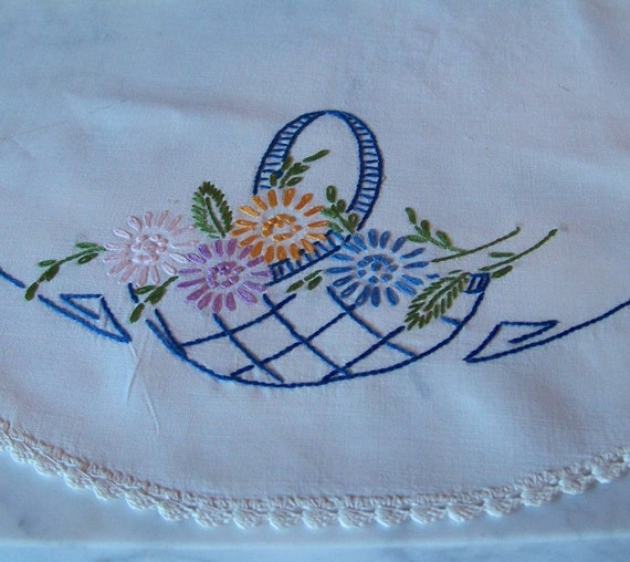 Vintage Hand Embroidered Doily, Basket of Flowers with Blue Border Stitching and Crochet White Lace Edging. Mint Condition.