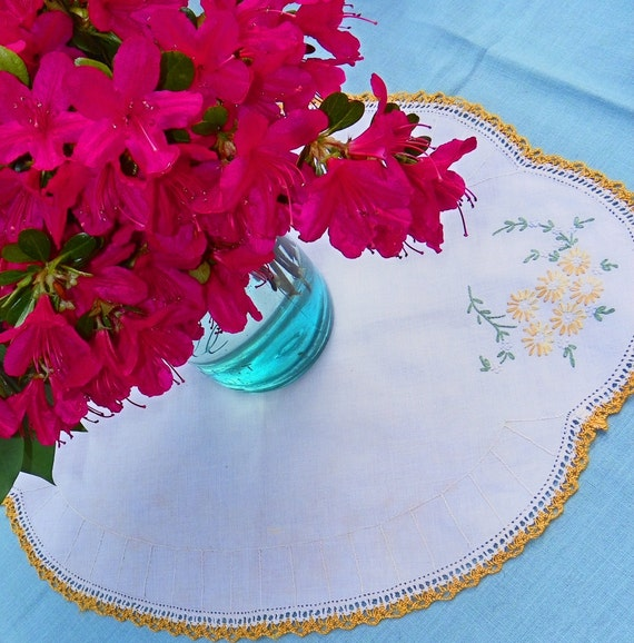 Vintage Doily with Embroidered Yellow and White Flowers Gold Crochet, on Creamy White Linen.