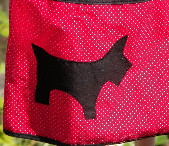Red and White Micro Polka Dot Back Wrap-Around Apron with Black Scottie Appliques, Homemade, Wear or Retro Kitchen Display.