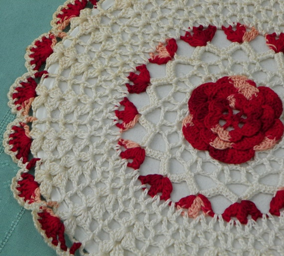 Vintage Farmhouse Chic 1950's Red and White Hot Pad, Hand Crocheted. Never Used, Mint Condition