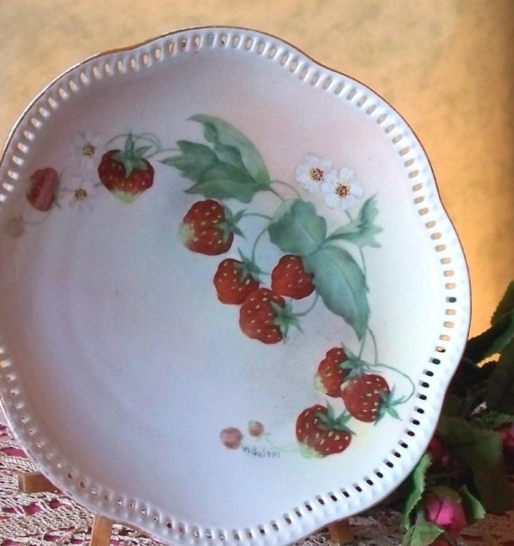 Sweet Hand Painted Vintage Strawberries China Plate Circa 1957