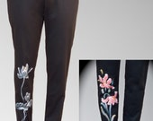 Black Friday Etsy Cyber Monday Etsy/Women Tight-fitting hand draw flower trousers/Black trousers