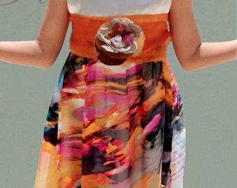 Chiffon Silk printed kids dresses/Orange flower girl dress/wedding dresses/gift ideas