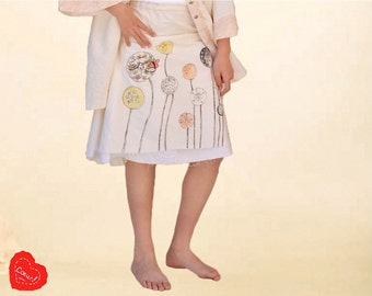 Lavande  dress/Country style girl dress/Cotton dress/Hand drawn dress