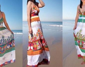 Women dress/ long strap dress/floral print dress/ embroidery dress