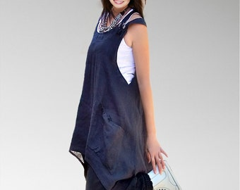 Linen cotton Navy deep blue women dresses/loose cut tunics/plus size/maxi tops/holiday dresses