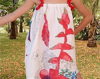 Tropical flower girls dress/kids summer dresses/strap dress/Sundress/Halter dresses