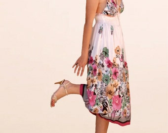 Women garden  floral dresses/prom Sun dress/summer strap dress/holiday dresses/pink tank tops