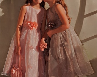Pink Taffeta flower girls dresses/Wedding dresses/gowns/kids dresses/kids Costumes/Photo Prop