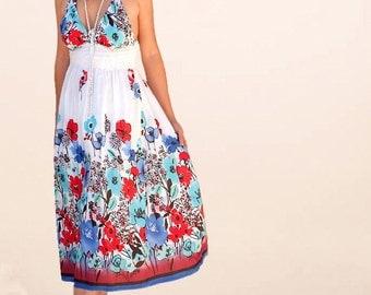 Petites women dresses/floral strapless/summer sundresses/day dresses/holiday dresses