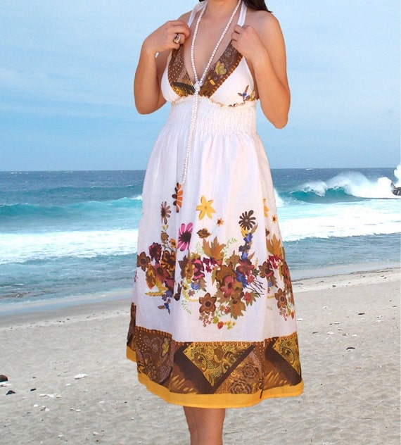 Ladies summer dress/floral Sundress/holiday Women dresses /white cotton strapless