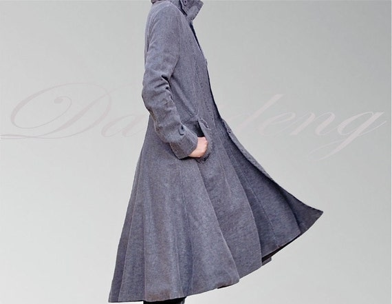 Long Gray coat / Gray winter coat /gray outerwear / Black Friday Cyber Monday Etsy Sale/ Linen coat/Women coat/Long dress