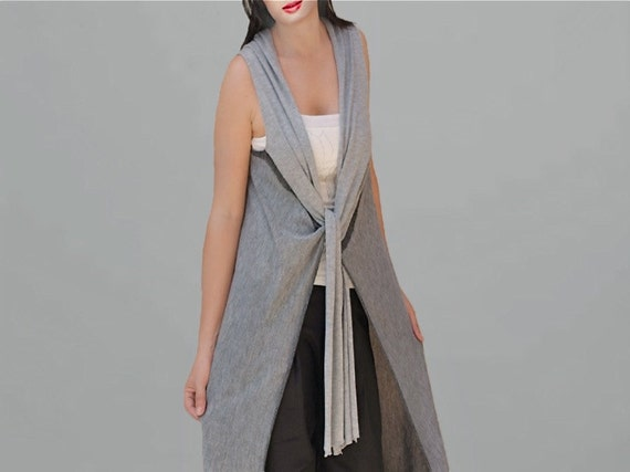 Long Wool Gilet in Gray /gray Tunic/Sweater/cardigan/tunic/vest