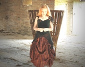 Silk Tartan & velvet Steampunk Wedding Dress, RESERVED for Caroline Size small s Scottish tartan dress fairytale costume