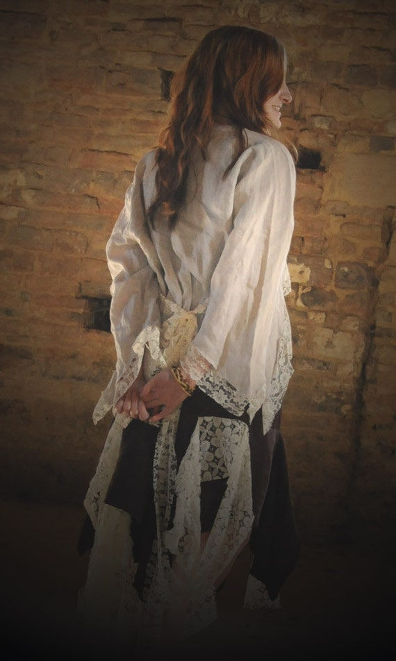 Cropped Steampunk shirt jacket, linen and lace pirate costume top  Size Medium UK 12 -14 US 8 - 10 Romantic tatters