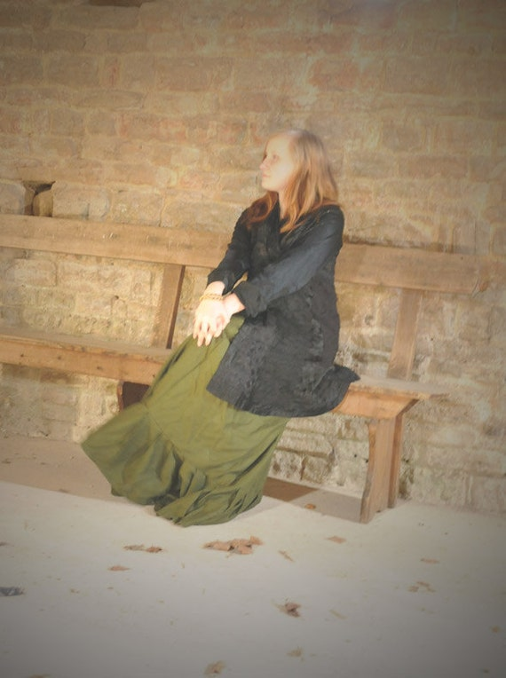 Steampunk Skirt, Dark green long Edwardian style skirt, Free Size S M L For an Edwardian costume.