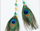 Dangle earrings with peacock feather and Czech glass crystal
