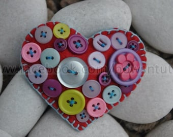 Hearts with Felt Button Brooch/Pin