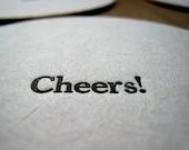 Letterpress Cheers Coasters Set of 8