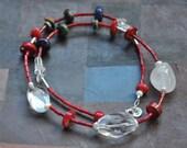 Cristal Quartz and red Coral Necklace / Collar de cristal de cuarzo y coral rojo