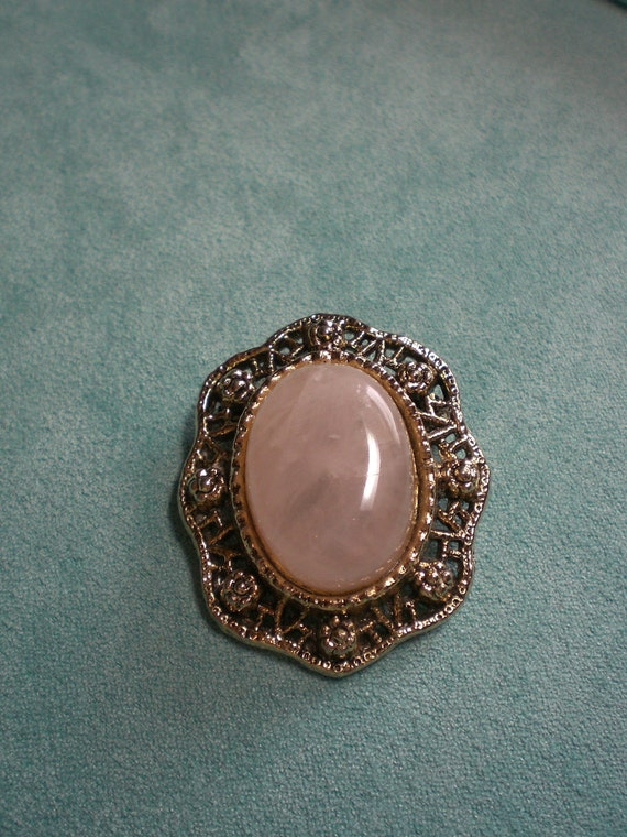 Vintage Brooch Pin Gold Tone Light Pink Polished Stone, Open Back OVAL
