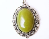 Green Jade Pendant Victorian Style and Silver 18 Inch Ball Chain Necklace
