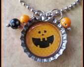 Bottle Cap Necklace - Cute Happy Pumpkin Face