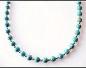 Mosaic Turquoise Beaded Strand Necklace (Rare Turquoise)
