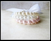 Pink, Off White, And White Triple Glass Pearl Bracelet Set