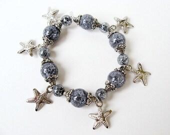 Starfish Crackle Glass Glass Stretch Charm Bracelet