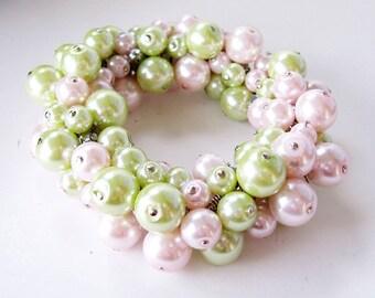 Lime and Pink Cluster Stretch Bracelet