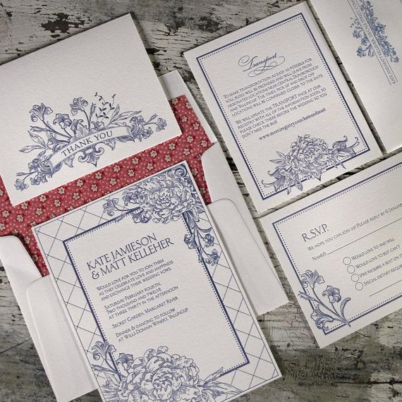 Le Jardin Letterpress Wedding Suite LP-NTR-05 SAMPLE
