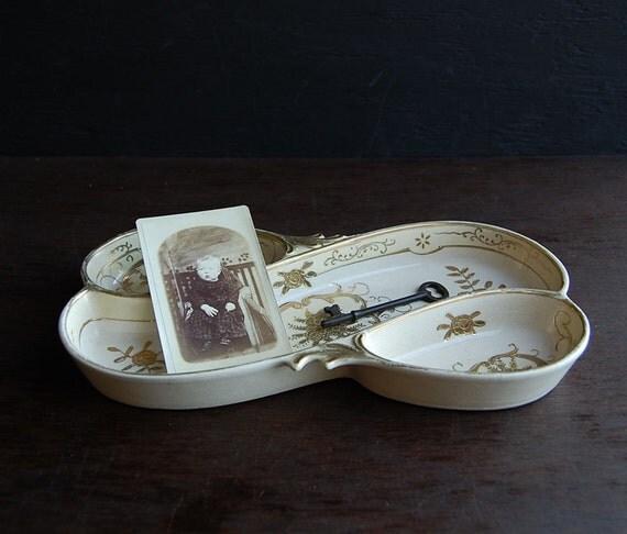 Divided Buttercream Vanity Dish Tray- Vintage Ceramic