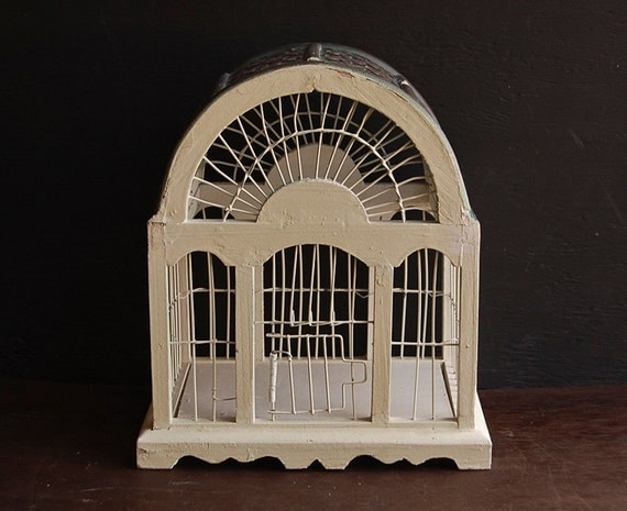 Vintage White Wooden Rustic Bird Cage