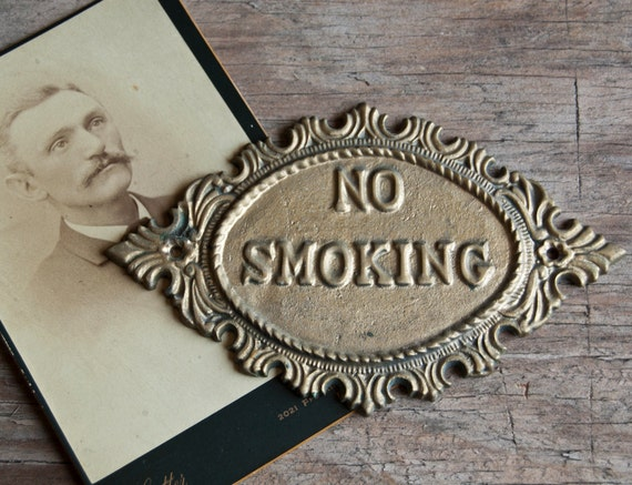 No Smoking - Vintage Metal Wall Plaque Sign