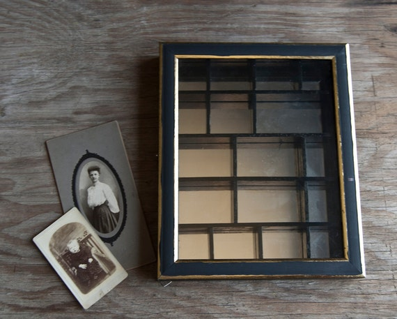 Curio Display Box- Victorian Mirrored - Black and Gold