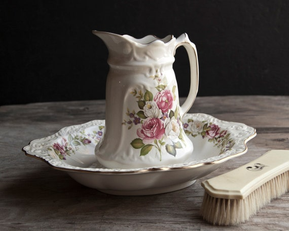 James Kent - Harmony Rose - Old Foley China Pitcher and Wash Bowl
