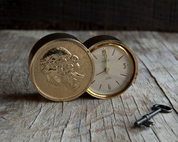 Travel Alarm Clock - Vintage Gold Coin - By Florn